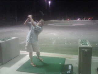 Mr. Man at the driving range